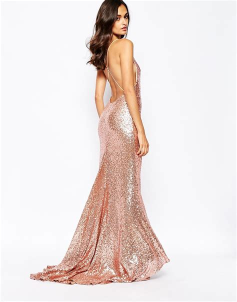 Gold Maxy rosegold sequin maxi dress dresscab