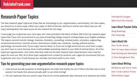 top research papers research paper topics top 100 best research topics