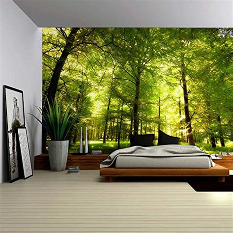 nature bedroom wallpaper green forest trees nature large wall mural removable