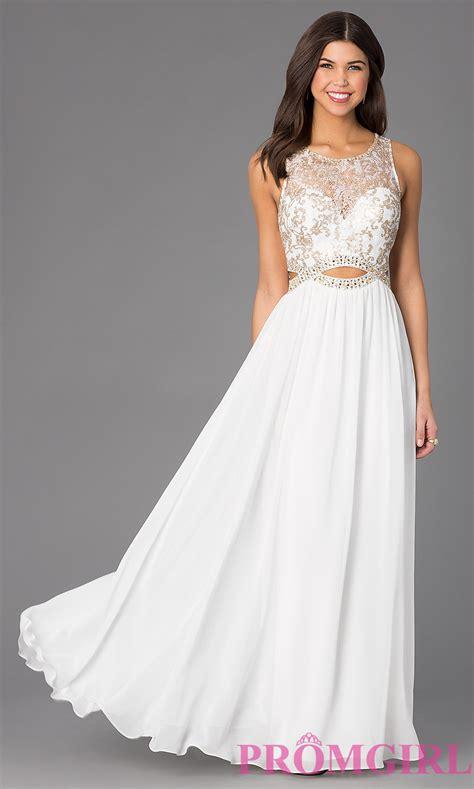 sleeveless floor length dress with lace bodice