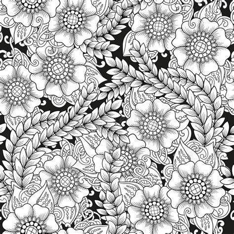 fiori stilizzati in bianco e nero modello in bianco e nero ornamentale senza cuciture con i