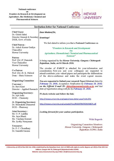 National Conference Invitation Letter invitation letter for quot national conference on frontiers in