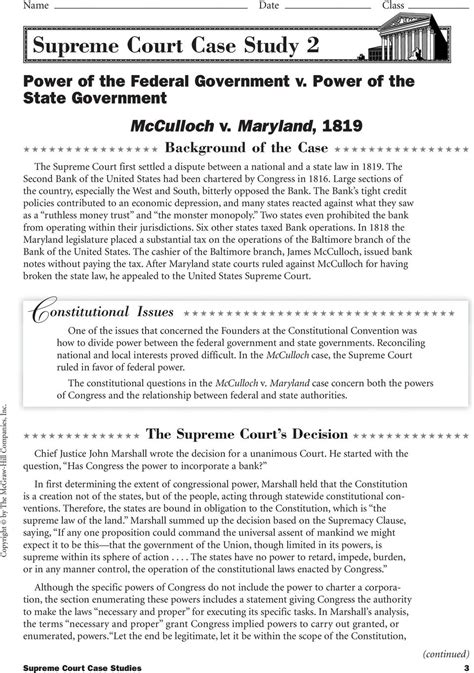Landmark Us Supreme Court Decisions Worksheet by Supreme Court Analysis Worksheet Geersc