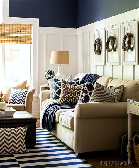 decorating with blue and brown fall decor in navy and blue batten neutral and living rooms