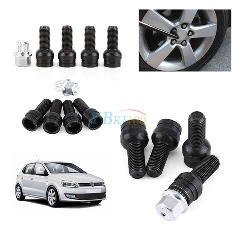 4 1 14mm wheel bolt lock lug nut set with key for vw bora