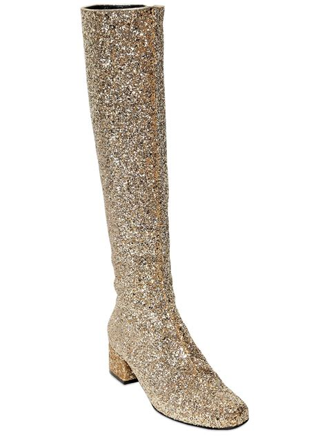 laurent babies knee high glitter boots in metallic