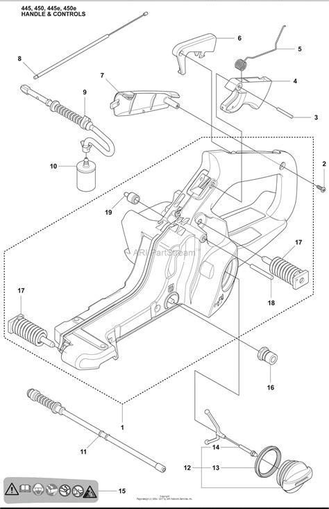 husqvarna chainsaw diagram husqvarna 450 e 2009 02 parts diagram for handle controls