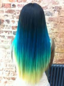 colorful ombre blue neon green ombre pastel hair elumen hair color