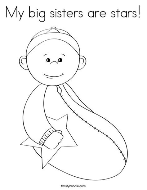 coloring pages baby sister my big sisters are stars coloring page twisty noodle