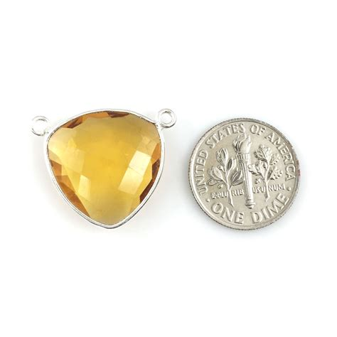bezel gemstone connector pendant citrine quartz