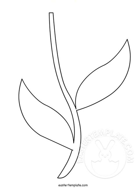 flower leaf coloring page printable flower stem template easter template