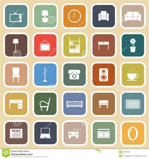 Efficiency Apartment Design living room flat icons on light background stock