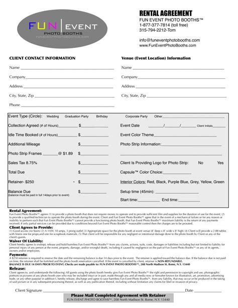 furniture rental contract template event rental agreement free printable documents