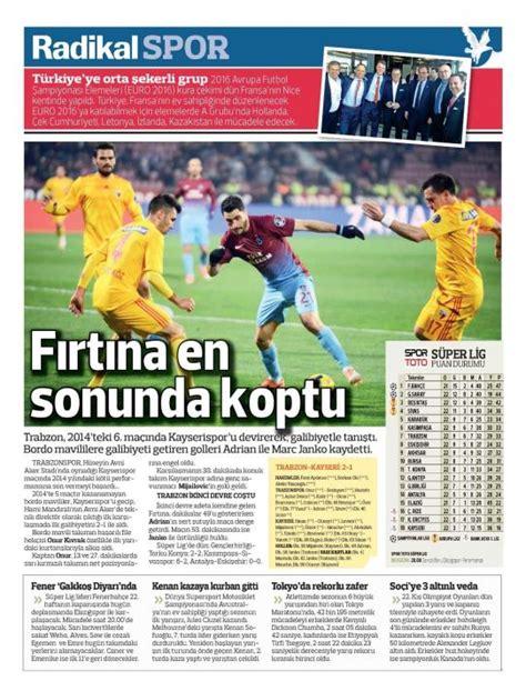 yaran capsler yen futbol spor toto sper lig sayfa 36 sporx gazete manşetleri 24 şubat 2014 futbol spor toto s 252 per