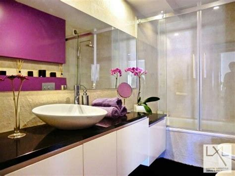 lavender and white bathroom bathroom purple white black stone modern flowers