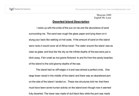 Stranded On A Desert Island Essay by Deserted Island Description Gcse Marked By Teachers
