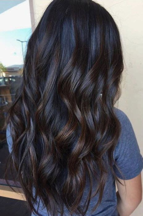 meian hair curling in the back and straight on the sides dark brunette with subtle low light bayalage fall hair
