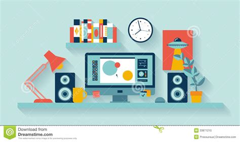 Showing Desk Login by Designer Workspace In The Office Stock Vector Image