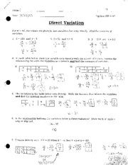 direct and inverse variation worksheet with answers 14 best images of direct variation worksheets printable direct variation tables worksheet