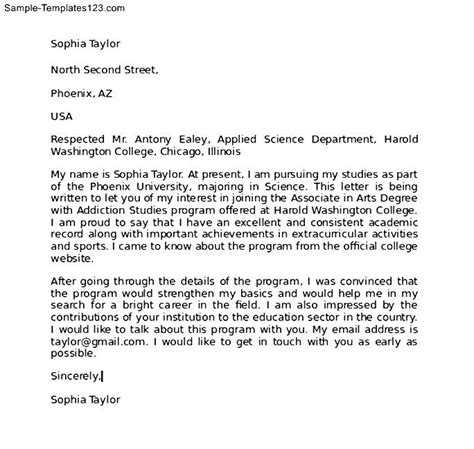 Letter Of Intent Format For College College Letter Of Intent Exle Sle Templates