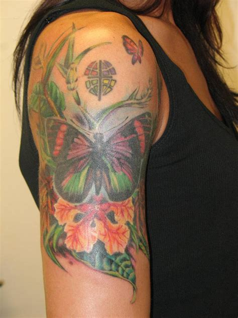 butterfly sleeve tattoo flower butterfly tattoos tattoos to see