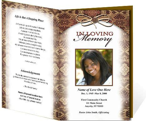 Obituary Card Template by Funeral Programs Messenger Single Fold Obituary Service