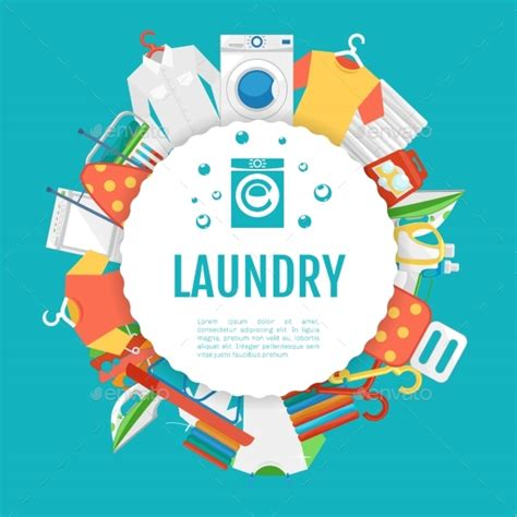 Laundry Graphic Design | laundry service poster design icons circle label by