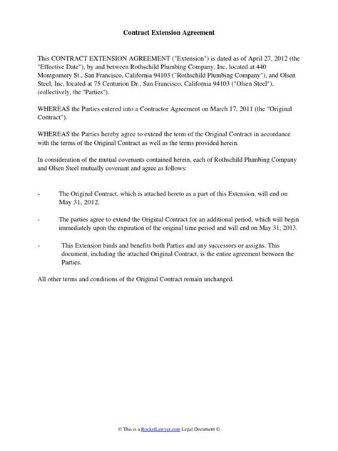 Contract Extension Request Letter Sle contract extension agreement