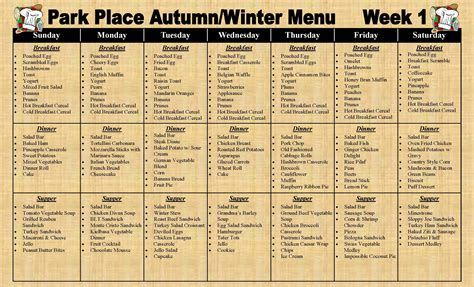 nursing home menu planning park place assisted living 187 sle menu