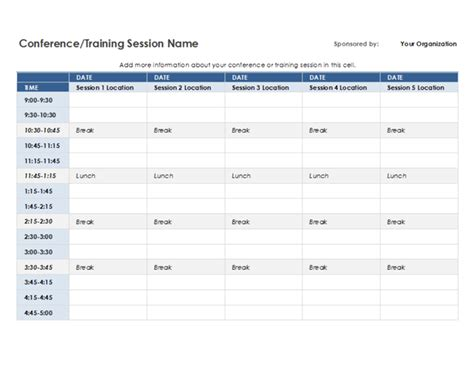 Five Day Event Schedule 5 Day Schedule Template