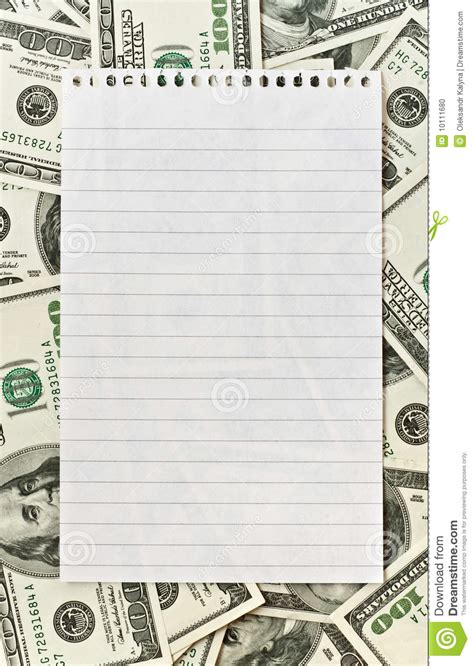 lined paper with money border blank white paper over money background stock photo