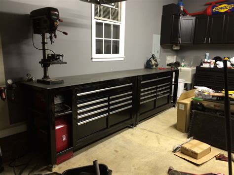 bench tool system tool box workbench with steel top homemade black shop