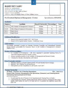 Resume Format For Freshers by Resume Format For Fresher Pdf
