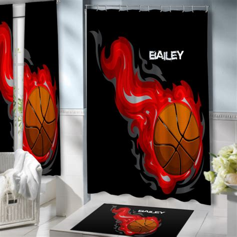 sports themed shower curtains red basketball flames shower curtain for boys on black
