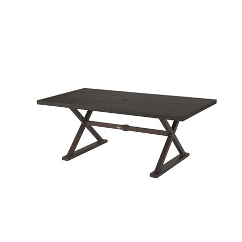 outdoor patio dining table hton bay woodbury metal rectangular outdoor patio