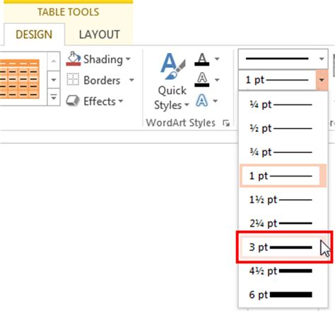 set line weight for table borders in powerpoint 2013 for