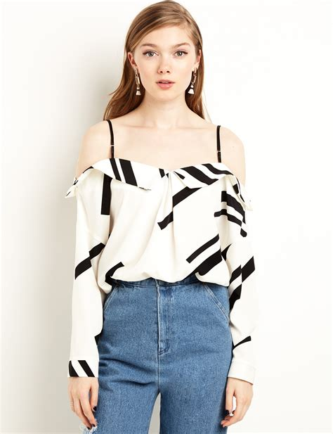 70568 Blouse Korea Import 1 top bar strappy the shoulder top minimalist strappy top black and white top pixiemarket