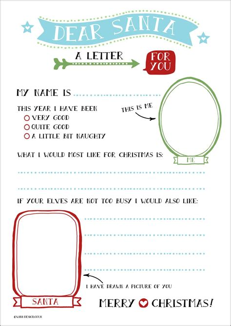Free Printable Letter To Santa With Space For Your Child To Draw Santa And Write Their All Free Letter Templates With Picture Insert