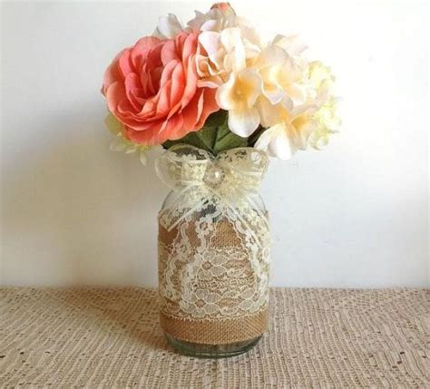 Jar Decorations For Bridal Shower by Burlap And Lace Covered Jar Vases Wedding