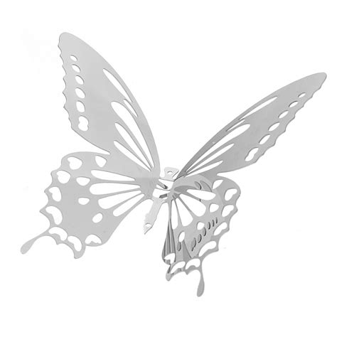 butterfly mirror wall stickers 10pcs 3d stainless butterfly wall stickers silver mirror