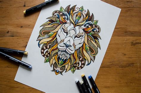 lion zendoodle drawn by justine galindo signed prints 17 best ideas about lion drawing on pinterest lion art