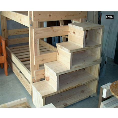 Wooden Bunk Bed With Stairs Solid Wood Custom Made Stairs For Bunk Or Loft Bed Usmfs