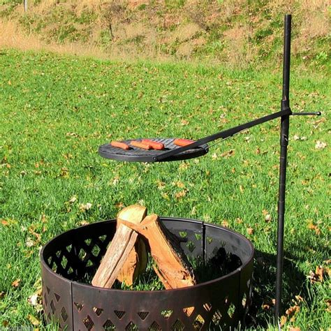 Build A Fire Pit With Cooking Grill In Your Backyard Diy Grill Firepit