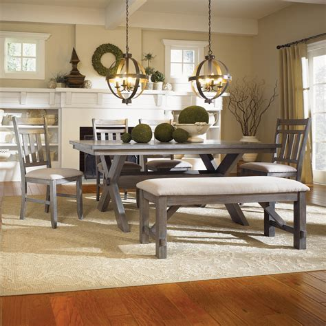 dining room set with bench seating powell turino 6 piece rectangle dining room set in grey