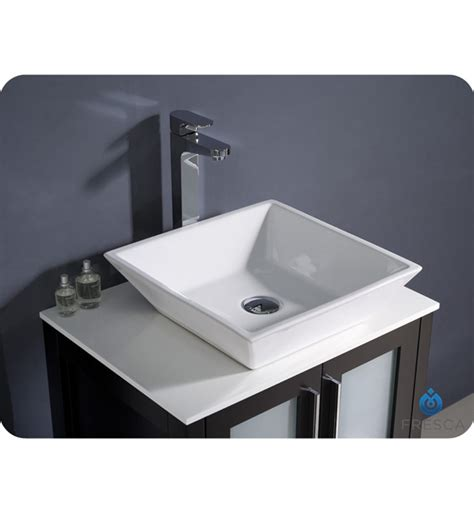 Modern Bathroom Vanities With Vessel Sinks 24 Torino Espresso Modern Bathroom Vanity W Vessel Sink Platinum Bath