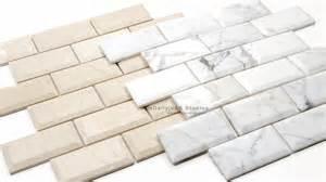 beveled marble brick mosaic 2 colors tiledaily
