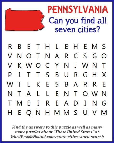 Pennsylvania Search State Of Pennsylvania Cities Word Search Word Puzzle Hound