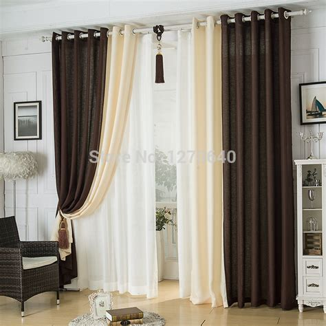 Window Curtains For Dining Room Decor Modern Linen Splicing Curtains Dining Room Restaurant Hotel Blackout Curtains Design Fashion