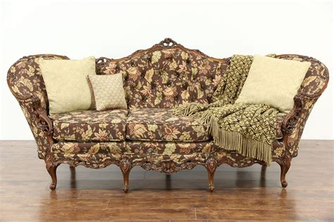 sold carved  vintage sofa pierced swag rose motifs  upholstery harp gallery