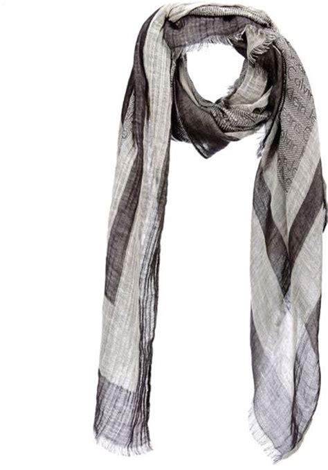 calvin klein scarf 488 logo print scarf in gray lyst